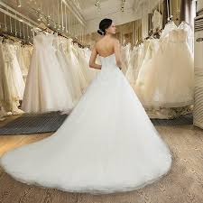 long strapless beading backless lace wedding dresses white or