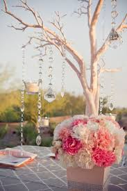 tree branch centerpieces manzanita branch coral reception wedding manzanita tree twig