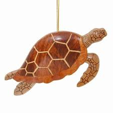 hawaiian ornament wood sea turtle w fins solid