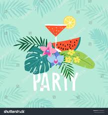 hand drawn summer party greeting card stock vector 674089678
