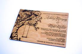 wooden wedding invitations tree with swing wooden wedding invitation real wood laser