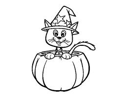 halloween kitten coloring coloringcrew