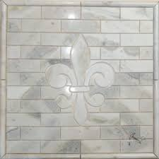 fleur de lis backsplash medallion sahara carrara marble