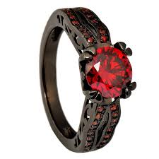 red jewelry rings images Junxin black gold 8mm round dark red ruby cz filled jpg