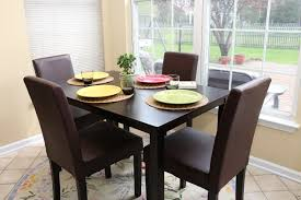 Espresso Dining Room Furniture 5pc Espresso Dining Room Kitchen Set Table 4 Brown Leather Parson