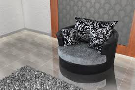 swivel cuddle chair large swivel round cuddle chair chenille fabric grey black snuggle