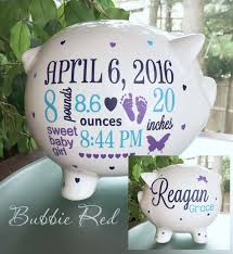 customized piggy bank personalized piggy bank custom baby birth stats gift baby girl