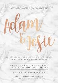 Engagement Invitation Cards Images Rose Gold White Marble Engagement Invitation A5 U2013 Labelle
