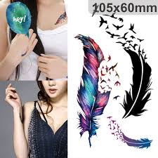 broken wings feather stickers temporary