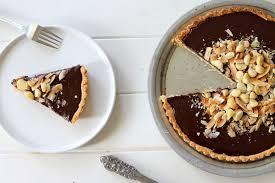 dark chocolate coconut u0026 macadamia nut tart