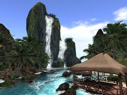 Hawaii waterfalls images Second life marketplace offsim waterfall mountain 100m 15prims jpg