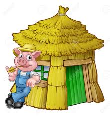 pigs fairy tale straw house royalty free cliparts