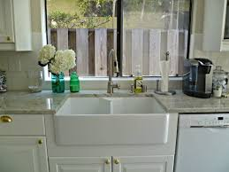 White Granite Kitchen Sink Countertops Backsplash Kohler Farm Sink Farmhouse Kitchen Sink