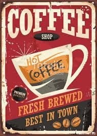 coffee shop background design coffee shop retro tin sign design with coffee cup on red background