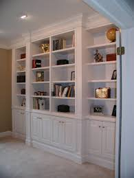 furniture large white bookshelves design with cabinet underneath