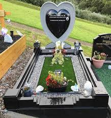 headstones and memorials cushion heart in black granite west memorials