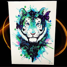 green ink water color tiger temporary for