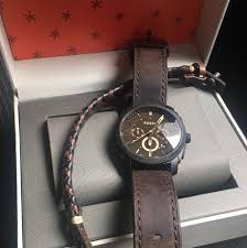 bracelet leather watches images Fossil mens fs5251set machine chronograph dark brown leather watch jpg