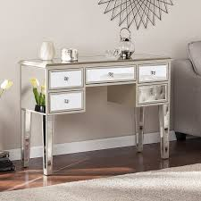 silver vanity table set amazon com southern enterprises mirage mirrored 2 drawer media