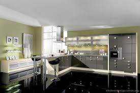 Black Cabinet Kitchens by Modern Gray Kitchen Cabinets Green Wall Metal Pole Countertop