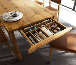 Expandable Dining Tables The Secret To Making Guests Feel - Farmhouse kitchen table with drawers