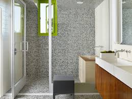 bathroom cantilevered green rug window casement multi cantilevered green rug window casement multi colored mosaic tiles wall mounted faucets landscape modern pivot shower door white walls