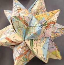 map origami paper modular origami paper map ornaments travel