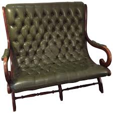 Vintage Settee Loveseat Antique English Dark Green Leather Library Loveseat Settee On The