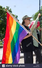 Usa Rainbow Flag Person Holding A Rainbow Flag At Lgbt Rally Washington Dc Usa