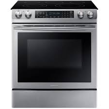 Home Depot Electric Cooktop Samsung 5 8 Cu Ft Slide In Electric Range With Self Cleaning