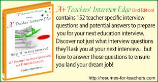 Resume For Teachers Job by A Teachers U0027 Interview Edge