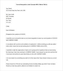 resignation letter letter of resignation 2 weeks notice sample