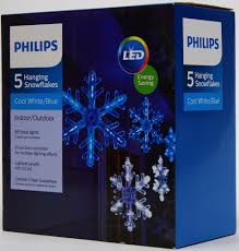 outdoor hanging snowflake lights philips 5 cool white blue hanging snowflakes lights white wire nib