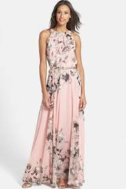 maxi dresses pink floral printed chiffon maxi dress casual dresses women