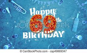 69th birthday card drawing of happy 69th birthday card with beautiful details such as