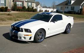 white mustang blue stripes performance white 2005 roush ford mustang coupe mustangattitude