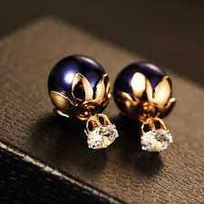 two sided earrings best big gold stud earrings for women big pearl fashion jewelry