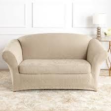 2 Piece Stretch Sofa Slipcover Sure Fit Slipcovers Form Fit Stretch Jacquard Damask 2 Piece Sofa