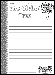 Thanksgiving Writing Pages The Giving Tree Lesson Plans Shel Silverstein Printable