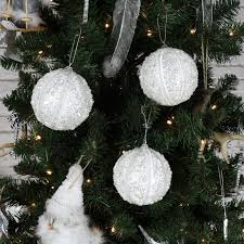 set of 6 large white sparkly pearl tree baubles melody