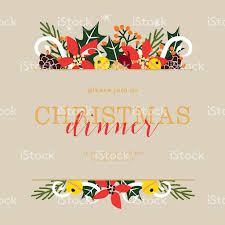 Invitation Card For Christmas Christmas Dinner Invitation Card On Beige Background Stock Vector