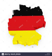 Germany Map by 3d Germany Map With German Flag Isolated On White Background Stock