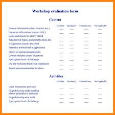 sample workshop evaluation form student workshop evaluation