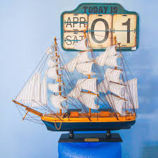 nautical crafted wooden sailing boat model home office decor gift