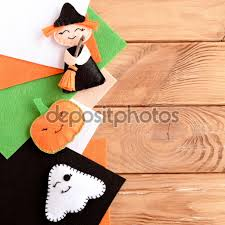 pretty halloween background pretty halloween embellishments toys and felt sheets on wooden