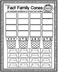 freebie fact family cones cut and paste tpt free lessons