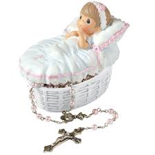 baby rosary baptized in his name resin box with rosary precious moments