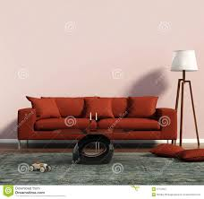 Living Room Red Sofa by Living Room With A Red Sofa And A Geometrical Rug Stock Photo