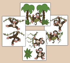 Nursery Monkey Wall Decals Monkey Wall Decals Baby Boy Jungle Nursery Children S Stickers