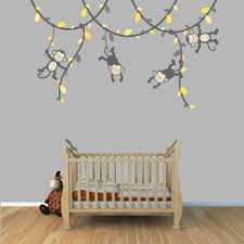 Nursery Monkey Wall Decals Yellow And Gray Monkey Wall Decal For Baby Nursery Or